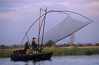 Europe/France/Pays de la Loire/44/Loire-Atlantique/Parc Naturel Régional de Brière/Grande-Brière/Ile Fedrun: Pêche au carrelet avec Guillaume Guerin - AUTORISATION N°235