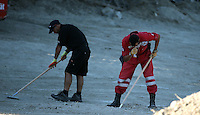 FAO JANET TOMLINSON, DAILY MAIL PICTURE DESK<br /> Pictured: A special forensics police officer and a Red Cross volunteer search a field in Kos, Greece. Monday 03 October 2016<br /> Re: Police teams led by South Yorkshire Police, searching for missing toddler Ben Needham on the Greek island of Kos have moved to a new area in the field they are searching.<br /> Ben, from Sheffield, was 21 months old when he disappeared on 24 July 1991 during a family holiday.<br /> Digging has begun at a new site after a fresh line of inquiry suggested he could have been crushed by a digger.