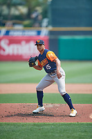 Las Vegas Aviators starting pitcher Jesús Luzardo (45) follows through a pitch to the plate against the Salt Lake Bees  at Smith's Ballpark on July 25, 2021 in Salt Lake City, Utah. The Aviators defeated the Bees 10-6. (Stephen Smith/Four Seam Images)