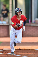Elizabethton Twins shortstop Brandon Lopez (35) runs to first base during a game against the Bristol Pirates at Joe O'Brien Field on July 30, 2016 in Elizabethton, Tennessee. The Twins defeated the Pirates 6-3. (Tony Farlow/Four Seam Images)
