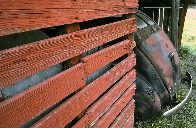 Old car in old barn