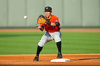 Frederick Keys second baseman Jerome Peña (2) waits for a throw against the Winston-Salem Dash at BB&T Ballpark on May 28, 2013 in Winston-Salem, North Carolina.  The Dash defeated the Keys 17-5 in the first game of a double-header.  (Brian Westerholt/Four Seam Images)