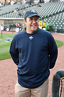 Owner Jason Freier of the Columbia Fireflies before a game against the Augusta GreenJackets on Opening Day, Thursday, April 6, 2017, at Spirit Communications Park in Columbia, South Carolina. Columbia won, 14-7. (Tom Priddy/Four Seam Images)
