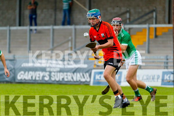 Nathan Guerin Ballyheigue in action against  Darragh<br /> Slattery Ballyduff  during the Kerry County Minor Hurling Championship Final match between Ballyduff and Ballyheigue at Austin Stack Park in Tralee, Kerry.