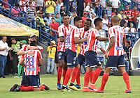 MONTERIA - COLOMBIA, 30-03-2019: Roger Torres (#23) de Junior celebra después de anotar el primer gol de su equipo durante el partido por la fecha 12 de la Liga Águila I 2019 entre Jaguares de Córdoba F.C. y Atlético Junior jugado en el estadio Jaraguay de la ciudad de Montería / Roger Torres (#23)of Junior celebrates after scoring the first goal of his team during match for the date 12 as part Aguila League I 2019 between Jaguares de Cordoba F.C. and Atletico Junior played at Jaraguay stadium in Monteria city. Photo: VizzorImage / Andres Felipe Lopez / Cont