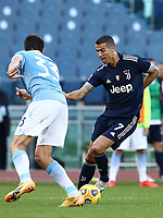 Football, Serie A: S.S. Lazio - Juventus Olympic stadium, Rome, November 8, 2020. <br /> Juventus' Cristiano Ronaldo (r) in action with Lazio's Francesco Acerbi (l) during the Italian Serie A football match between Lazio and Juventus at Olympic stadium in Rome, on November 8, 2020.<br /> UPDATE IMAGES PRESS/Isabella Bonotto