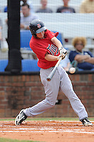 Second baseman Will Hurt (4) of the Elizabethton Twins bats in a game against the Johnson City Cardinals on Sunday, July 27, 2014, at Howard Johnson Field at Cardinal Park in Johnson City, Tennessee. The game was suspended due to weather in the fifth inning. (Tom Priddy/Four Seam Images)
