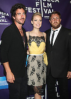 April 21, 2012 Bryn Mooser, Olivia Wilde and David Darg attend the premiere of  Help Wanted Shorts Program -2012 Tribeca Film Festival  at the AMC Loews Village, 66 Third Avenue in New York City. Credit: RW/MediaPunch Inc.