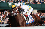 April 04, 2015:   First time past the stands - <br />Carpe Diem and jockey John Velazquez win the 91st running of The Toyota Blue Grass Grade 1 $1,000,000 at Keeneland Racecourse for owner Winstar Farm and Stonestreet Farm and trainer Todd Pletcher.   Candice Chavez/ESW/CSM