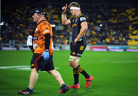 Injured Chiefs captain Sam Cane is substituted during the Super Rugby Aotearoa match between the Hurricanes and Chiefs at Sky Stadium in Wellington, New Zealand on Saturday, 8 August 2020. Photo: Dave Lintott / lintottphoto.co.nz