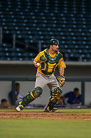 AZL Athletics catcher Cooper Goldby (11) on defense during a game against the AZL Cubs on August 9, 2017 at Sloan Park in Mesa, Arizona. AZL Athletics defeated the AZL Cubs 7-2. (Zachary Lucy/Four Seam Images)