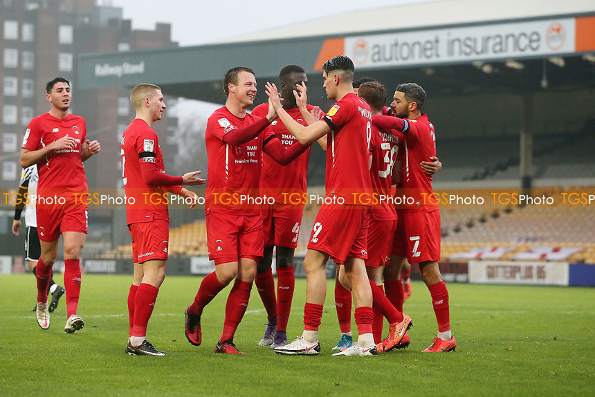 O's Connor Wilkinson scores and celebrates with team mates during Port Vale vs Leyton Orient, Sky Bet EFL League 2 Football at Vale Park on 28th November 2020
