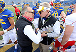 BROOKINGS, SD - MARCH 13: Youngstown State Penguins head coach Doug Phillips shakes hands with South Dakota State Jackrabbits head coach John Stiegelmeier following the Jacks 19-17 win at Dana J. Dykhouse Stadium on March 13, 2021 in Brookings, South Dakota. (Photo by Dave Eggen/Inertia)