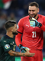 Football: Euro 2020 Group J qualifying football match Italy vs Greece at the Olympic stadium, in Rome, on October 6, 2019.<br /> Italy's goalkeeper Gianluigi Donnarumma (r) celebrates with his team mate Lorenzo Insigne (l) after winning 2-0 the UEFA Euro 2020 Group J qualifier football match between Italy and Greece between Italy and Greece at the Olympic stadium, in Rome, on October 6, 2019.<br /> UPDATE IMAGES PRESS/Isabella Bonotto