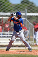 New York Mets Colton Plaia (25) bats during a minor league spring training game against the St. Louis Cardinals on April 1, 2015 at the Roger Dean Complex in Jupiter, Florida.  (Mike Janes/Four Seam Images)