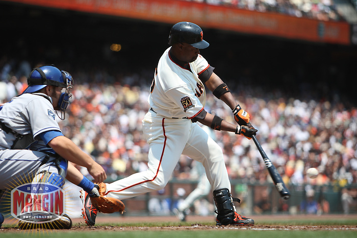 SAN FRANCISCO - JULY 6:  Ray Durham of the San Francisco Giants bats during the game against the Los Angeles Dodgers at AT&T Park in San Francisco, California on July 6, 2008.  The Dodgers defeated the Giants 5-3.  Photo by Brad Mangin