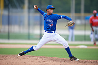GCL Blue Jays relief pitcher Brayan Mejia (57) delivers a pitch during a game against the GCL Phillies West on August 7, 2018 at Bobby Mattick Complex in Dunedin, Florida.  GCL Blue Jays defeated GCL Phillies West 11-5.  (Mike Janes/Four Seam Images)