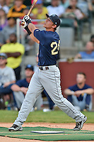 Mobile BayBears third baseman Jake Lamb #24 swings at a pitch during the Southern League Home Run Derby at Engel Stadium on June 16, 2014 in Chattanooga, Tennessee.  (Tony Farlow/Four Seam Images)