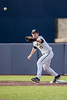 Michigan Wolverines first baseman Jimmy Kerr (15) waits for a throw against the San Jose State Spartans on March 27, 2019 in Game 1 of the NCAA baseball doubleheader at Ray Fisher Stadium in Ann Arbor, Michigan. Michigan defeated San Jose State 1-0. (Andrew Woolley/Four Seam Images)