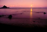 Hana, Haneoo fishpond, Alau island moonrise, Maui