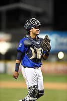 ***Temporary Unedited Reference File***Corpus Christi Hooks catcher Alfredo Gonzalez (27) during a game against the Frisco RoughRiders on April 23, 2016 at Whataburger Field in Corpus Christi, Texas.  Corpus Christi defeated Frisco 3-2.  (Mike Janes/Four Seam Images)