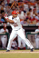 3 September 2005: Marlon Byrd, outfielder for the Washington Nationals, at bat during a game against the Philadelphia Phillies. The Nationals defeated the Phillies 5-4 at RFK Stadium in Washington, DC. <br />