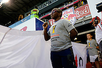 Harrison, NJ - Wednesday Aug. 03, 2016: Flag kid during a CONCACAF Champions League match between the New York Red Bulls and Antigua at Red Bull Arena.
