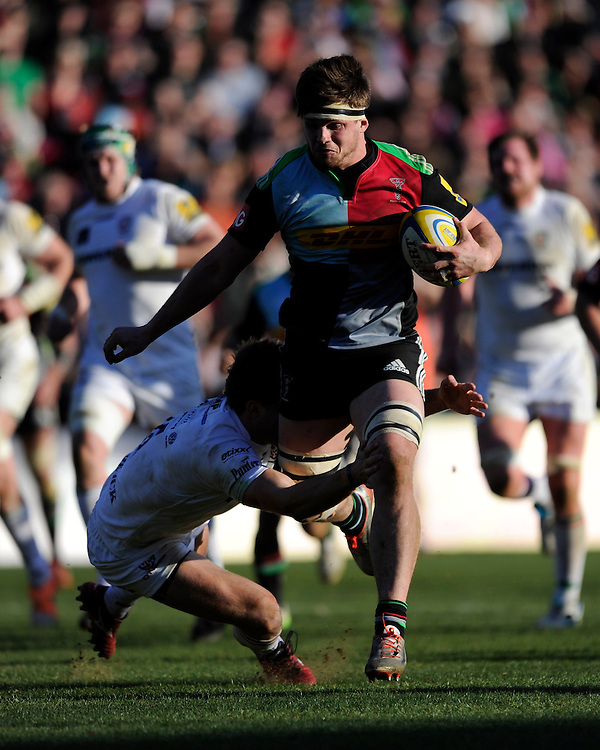 Jack Clifford of Harlequins in action during the Aviva Premiership Rugby match between Harlequins and London Irish at The Twickenham Stoop on Saturday 7th March 2015 (Photo by Rob Munro)