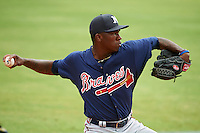 Mississippi Braves pitcher Tyrell Jenkins (11) throws a bullpen during practice before a game against the Mobile BayBears on April 28, 2015 at Hank Aaron Stadium in Mobile, Alabama.  The game was suspended after the top of the second inning with Mobile leading 3-0, the BayBears went on to defeat the Braves 6-1 the following day.  (Mike Janes/Four Seam Images)
