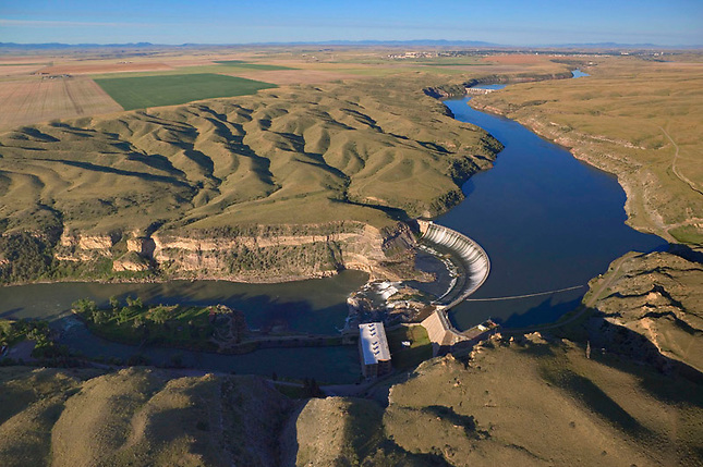 Missouri River dam down stream from Great Falls