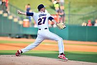 Northern Divisions starting pitcher Will Stewart (27) of the Lakewood Blue Claws delivers a pitch during the South Atlantic League All Star Game at First National Bank Field on June 19, 2018 in Greensboro, North Carolina. The game Southern Division defeated the Northern Division 9-5. (Tony Farlow/Four Seam Images)