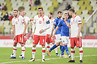 11th October 2020, The Stadion Energa Gdansk, Gdansk, Poland; UEFA Nations League football, Poland versus Italy; ROBERT LEWANDOWSKI,SEBASTIAN WALUKIEWICZ and PILKARZE ZAWODNICY ready for a corner kick