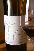 Cuvee Quintessence. Domaine Coume del Mas. Banyuls-sur-Mer. Roussillon. France. Europe. Bottle. Wine glass.