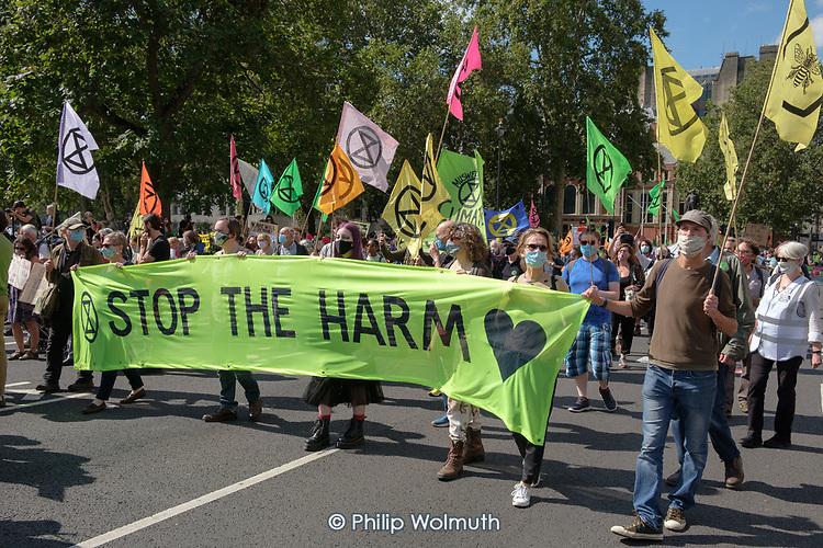 Stop The Harm, Extinction Rebellion protest, Parliament Square, London