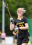 GER - Hannover, Germany, May 31: During the Women Lacrosse Playoffs 2015 match between KIT SC Karlsruhe (pink) and HTHC Hamburg (black) on May 31, 2015 at Deutscher Hockey-Club Hannover e.V. in Hannover, Germany. Final score 3:18. (Photo by Dirk Markgraf / www.265-images.com) *** Local caption *** Charlotte Erdsiek #21 of HTHC Hamburg