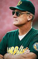 Oakland Athletics Manager Art Howe at Anaheim Stadium in Anaheim,California during the 1996 season. (Larry Goren/Four Seam Images)