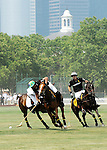 (R) Nacho Figueras (Caption of the Black Watch team) competing at the 3rd Annual Veuve Clicquot Polo Classic on Governors Island on June 27, 2010.
