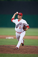 Auburn Doubledays relief pitcher David Smith (21) delivers a pitch during a game against the Lowell Spinners on July 13, 2018 at Falcon Park in Auburn, New York.  Lowell defeated Auburn 8-5.  (Mike Janes/Four Seam Images)
