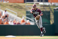 Texas A&M Aggies shortstop Mikey Reynolds #16 throws to first during the NCAA baseball game against the Texas Longhorns on April 28, 2012 at UFCU Disch-Falk Field in Austin, Texas. The Aggies beat the Longhorns 12-4. (Andrew Woolley / Four Seam Images)..