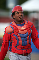 Williamsport Crosscutters catcher Jesus Posso (28) during practice before a game against the Batavia Muckdogs on August 27, 2015 at Dwyer Stadium in Batavia, New York.  Batavia defeated Williamsport 3-2.  (Mike Janes/Four Seam Images)