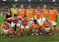 Houston Dynamo starting XI prepare to take on Chivas USA.  Houston Dynamo and Chivas USA drew to a 0-0 tie at Robertson Stadium in Houston, TX on September 17, 2006.