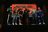 LAS VEGAS, NV - AUG 19:  Carlos Castro, Mark Magsayo, Robert Guerrero, Victor Ortiz, Julio Ceja and Oscar Escandon at the undercard press conference at the MGM Grand Garden Arena on August 19, 2021 for the upcoming Fox Sports PBC pay-per-view fight in Las Vegas, Nevada. Pacquaio vs Ugas pay-per-view will be on August 21 at T-Mobile Arena in Las Vegas. (Photo by Scott Kirkland/Fox Sports/PictureGroup)