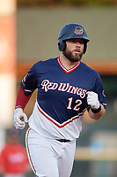 Rochester Red Wings catcher Cameron Rupp (22) runs the bases after hitting a home run in the bottom of the fifth inning during a game against the Pawtucket Red Sox on July 4, 2018 at Frontier Field in Rochester, New York.  Pawtucket defeated Rochester 6-5.  (Mike Janes/Four Seam Images)