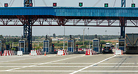 Morocco.  Approaching Toll Booth on Highway A-2, between Meknes and Rabat.
