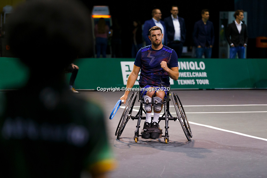 Rotterdam, The Netherlands, 14 Februari 2020, ABNAMRO World Tennis Tournament, Ahoy,   Wheelchair: Joachim Gerard (BEL).<br /> Photo: www.tennisimages.com