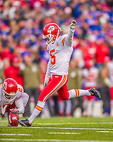 9 November 2014: Kansas City Chiefs kicker Cairo Santos converts a touchdown against the Buffalo Bills in the fourth quarter at Ralph Wilson Stadium in Orchard Park, NY. The Chiefs rallied with two fourth quarter touchdowns to defeat the Bills 17-13. Mandatory Credit: Ed Wolfstein Photo *** RAW (NEF) Image File Available ***