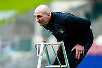 21st November 2020; Welford Road Stadium, Leicester, Midlands, England; Premiership Rugby, Leicester Tigers versus Gloucester Rugby; Leicester Tigers Head Coach Steve Borthwick on a ladder to catch balls during the pre-match warm-up