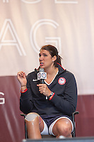 USA Paralympic sitting volleyball team member Katie Holloway participates in the Road to London 100 Days Out Celebration in Times Square in New York City, New York, USA on Wednesday, April 18, 2012.  Times Square was transformed into an Olympic Village for the event.