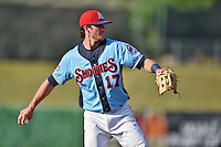 Tennessee Smokies third baseman Kris Bryant #17 between innings during a game against the Birmingham Barons at Smokies Park on May 31, 2014 in Kodak, Tennessee. The Barons defeated the Smokies 2-1. (Tony Farlow/Four Seam Images)