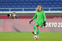 YOKOHAMA, JAPAN - JULY 30: Goalkeeper Alyssa Naeher #1 of the United States passes the ball during a game between Netherlands and USWNT at International Stadium Yokohama on July 30, 2021 in Yokohama, Japan.